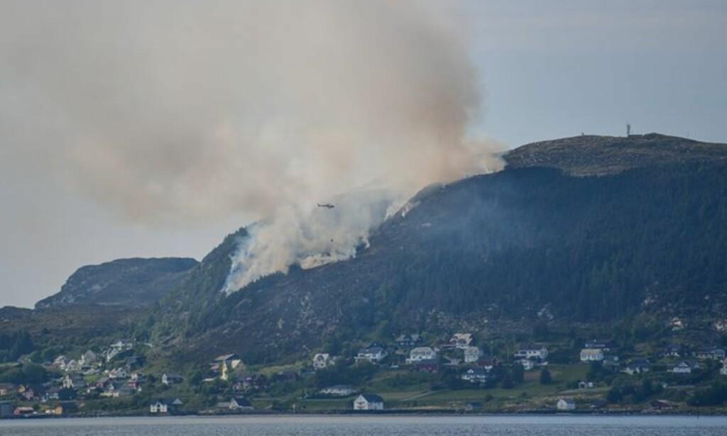 STOR BRANN: Et stort område har stått i brann i fjellet på Herøy i Møre og Romsdal. Brannvesenet mener mandag kveld å ha en viss kontroll på flammene i fjellsida. Foto: Kristoffer Nærø Ytterland