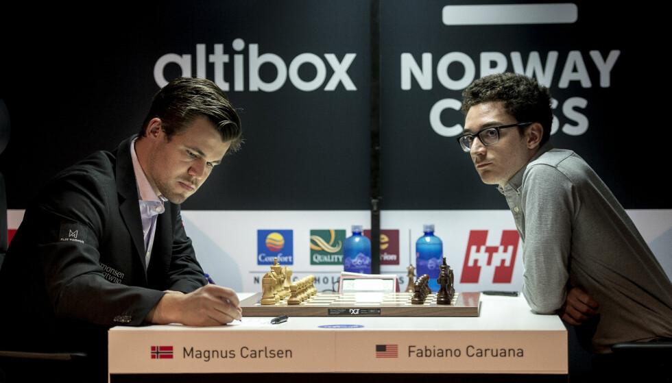 DUELL: Magnus Carlsen møtte Fabiano Caruana under Norway Chess i Stavanger 2018. Foto: Carina Johansen / NTB scanpix
