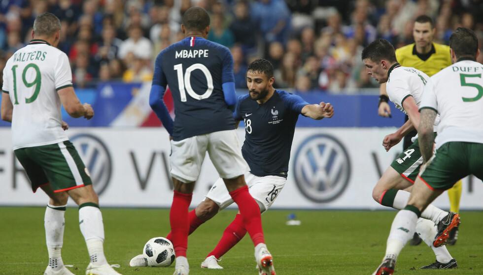 SCORET: Nabil Fekir scoret én gang da Frankrike slo Irland 2-0 i en treningskamp mandag. Foto: AP Photo/Thibault Camus / NTB scanpix.