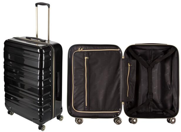 ROBUST, MEN LETT: Reis med stil med flotte trillekofferter i svart og gull.