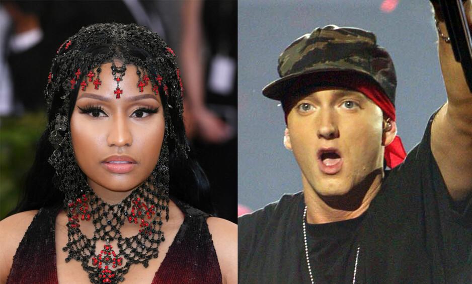 SØT MUSIKK?: Romansespekulasjonene mellom Nicki Minaj (35) og Eminem (45) har fått internett til å koke de siste dagene. Foto: NTB Scanpix