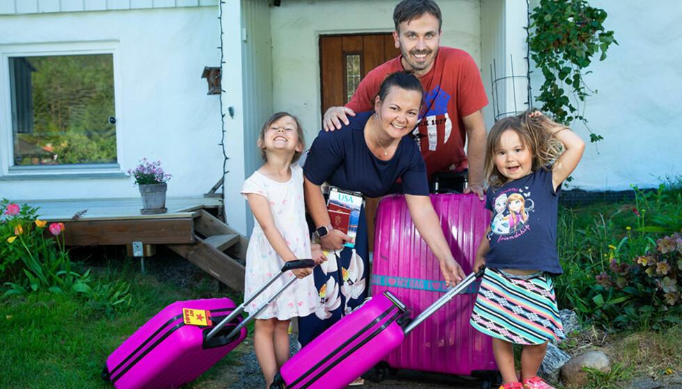 Hele familien Dervo-Lehn gleder seg til høstens tur til USA og vil spare i Familiekonto for å spare til drømmereisen.
