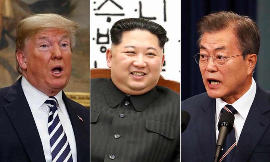 LANG VEI IGJEN: USA, Nord-Korea og Sør-Korea, her representert ved de tre landenes ledere: Donald Trump, Kim Jong-un og Moon Jae-in, står fortsatt langt unna hverandre i diskusjonene verdenssamfunnet håper leder fram til varig fred på Koreahalvøya. Foto: NTB Scanpix