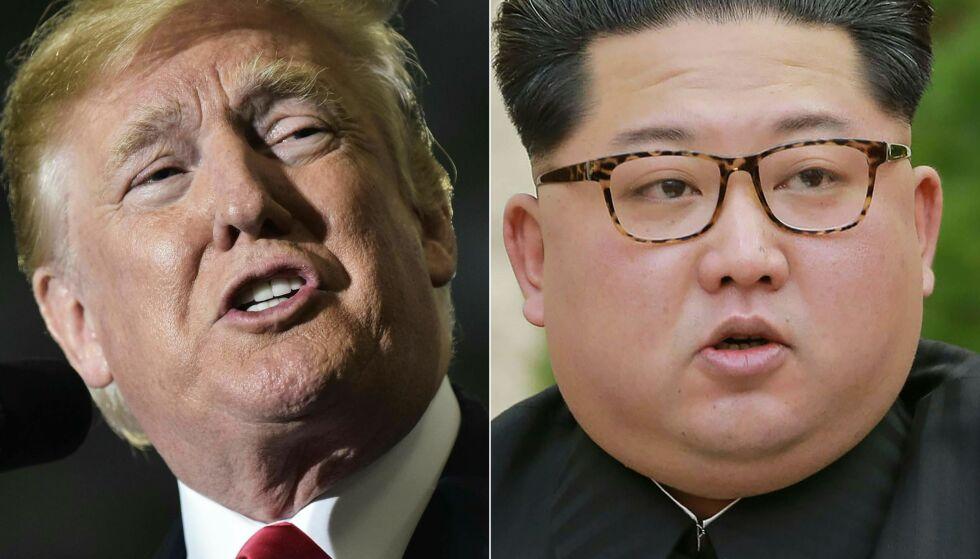 VIL DE MØTES? Spørsmålet er om Donald Trump og Kim Jong-un vil møtes 12. juni, eller om det nok en gang blir avlyst. Det er også knyttet stor spenning rundt hva slags avtale de blir enige om, dersom de blir enige. Foto: NTB scanpix