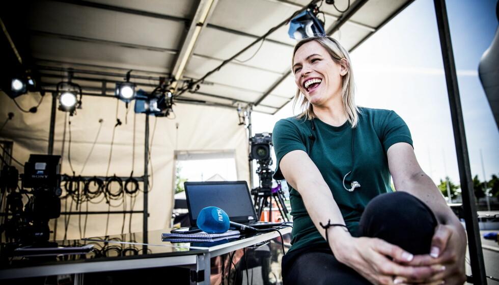 GLEDER SEG: Snart går Carina Olset løs på sommeren som NRKs programleder under fotball-VM. Foto: Christian Roth Christensen