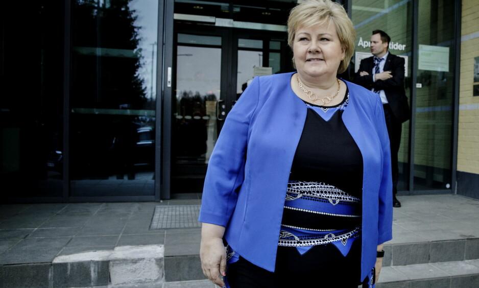 BEST I TEST: Statsminister Erna Solberg gjør en god jobb som Høyre-leder, ifølge 66 prosent av velgerne. i alt 91 prosent av velgerne mener hun gjør en god eller middels god jobb. Foto: Nina Hansen/Dagbladet.
