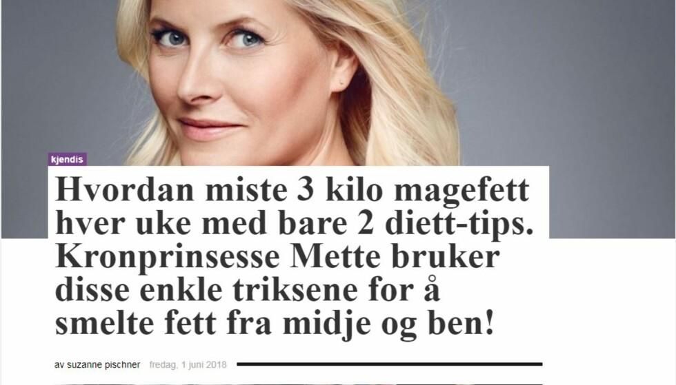 FALSK REKLAME: Igjen har kronprinsesse Mette-Marit blitt misbrukt i falske slankereklamer. Foto: Skjermdump