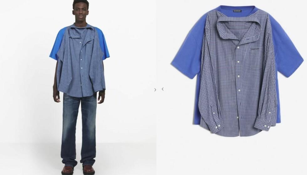 VEKKER OPPSIKT: Denne t-skjorte-skjorta fra Balenciaga diskuteres heftig på Internett. Foto: Balenciaga