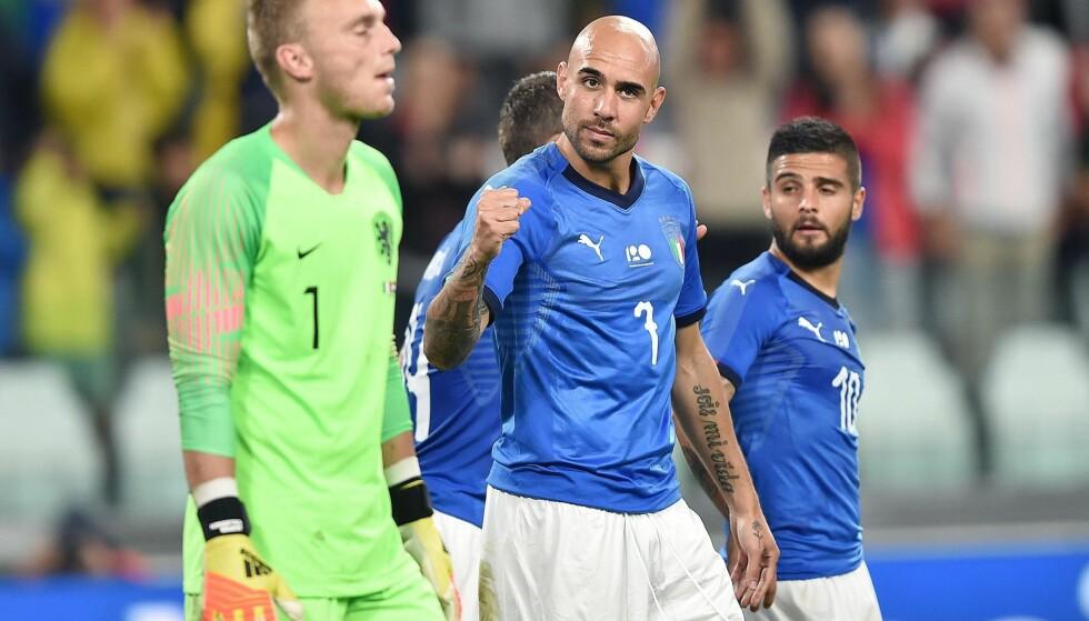 BARE NESTEN: Simone Zaza sendte Italia i ledelsen, men det holdt ikke helt inn for Roberto Mancinis mannskap. Foto: NTB/Scanpix