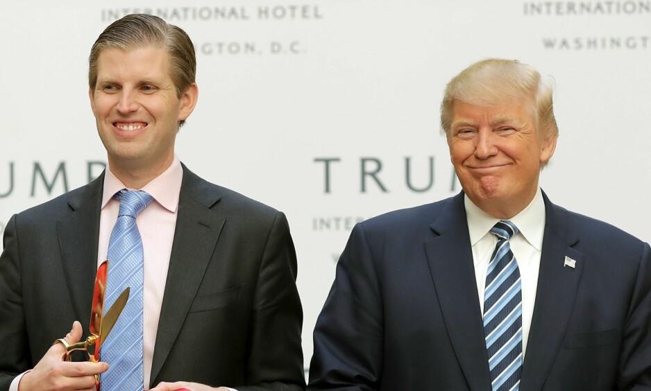 SNAKKER OM KRITIKKEN: Eric Trump, den nest eldste sønnen til USAs president Donald Trump, forteller om endringene som har skjedd i familien etter at faren ble verdens mektigste mann. Foto: NTB scanpix
