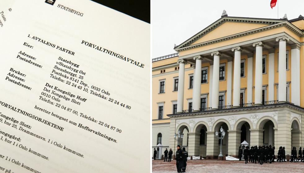 FORVALTNINGSAVTALEN: Denne avtalen signerte Det kongelige hoff med Statsbygg i 2002. I vedleggene er lov om offentlige anskaffelser nevnt flere steder. Foto: Dagbladet / NTB Scanpix