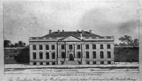 FØR BRANNEN: Slik så Det hvite hus ut fra nordsida like før britene satte fyr på det i 1814. Foto: AP Photo/NTB Scanpix