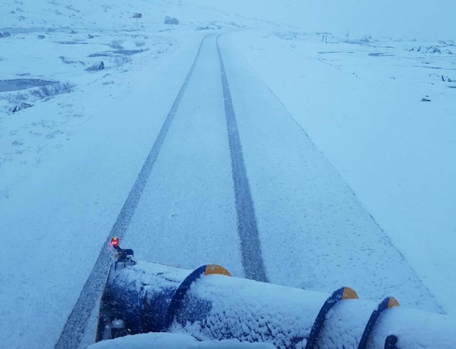 SNØ: Vi skriver 8. juni. I Sør-Norge er det flere steder meldt 28 grader. I Nord-Norge er det kaldt, og på Senja snør det. Foto: Privat