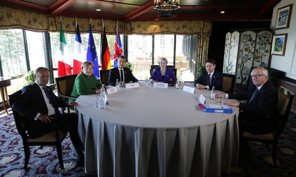 TOPPMØTE: I går møttes verdens ledere til G7-toppmøtet i Quebeq. Fra venstre EU-unionens president Donald Tusk, Tysklands forbundskansler Angela Merkel, Frankrikes president Emmanuel Macron, britenes statsminister Theresa May, Italias statsminister Giuseppe Conte og EU-kommisjonens president Jean-Claude Juncker.