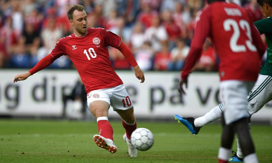 DOMINERTE: Christian Eriksen scoret og assisterte da Danmark vant 2-0 mot Mexico. Foto: Lars Møller / AFP / Ritzau Scanpix / NTB Scanpix