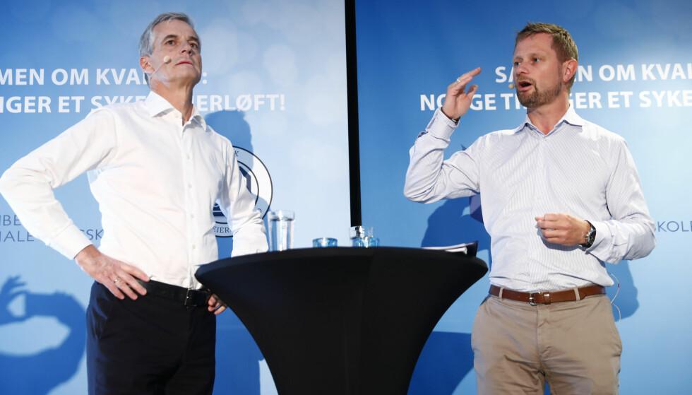 Bryter prinsipper: Jonas Gahr Støre (Ap) og Bent Høie (H) følger ikke egne kriterier for prioritering i helsetjenesten. Foto: Terje Pedersen / NTB scanpix