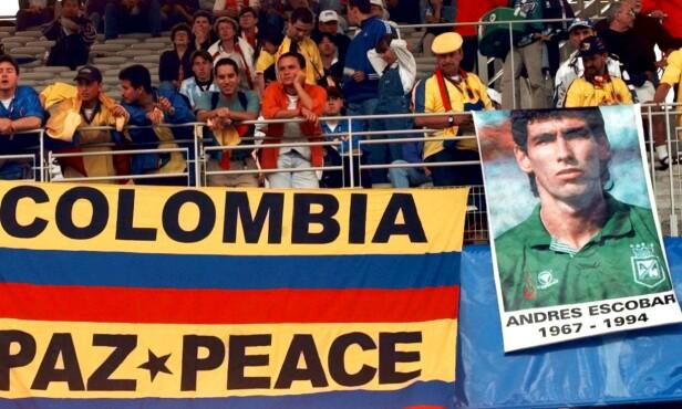 DREPT: Colombias Andres Escobar ble brutalt drept. Foto: Eric Draper/AP/NTB Scanpix