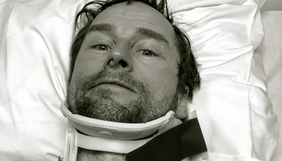 KUNNE GÅTT VERRE: Tross et nakkebrudd, Daniel Franck velger å fokusere på at alt egentlig kunne gått så mye verre. Foto: Privat.