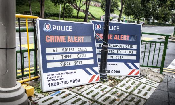 EKSTREME STRAFFER: Singapore beskrives som et trygt land for turister, i stor grad som følge av de ekstreme straffene. Politiet advarer likevel mot overgrep og tyverier i nattklubbområdet Clarke Quay. Foto: Marie Røssland / Dagbladet