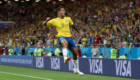 HERLIGHET: Philippe Coutinho har akkurat gitt Brasil 1 - 0 mot Sveits . FOTO: Reuters/Marko Djurica.