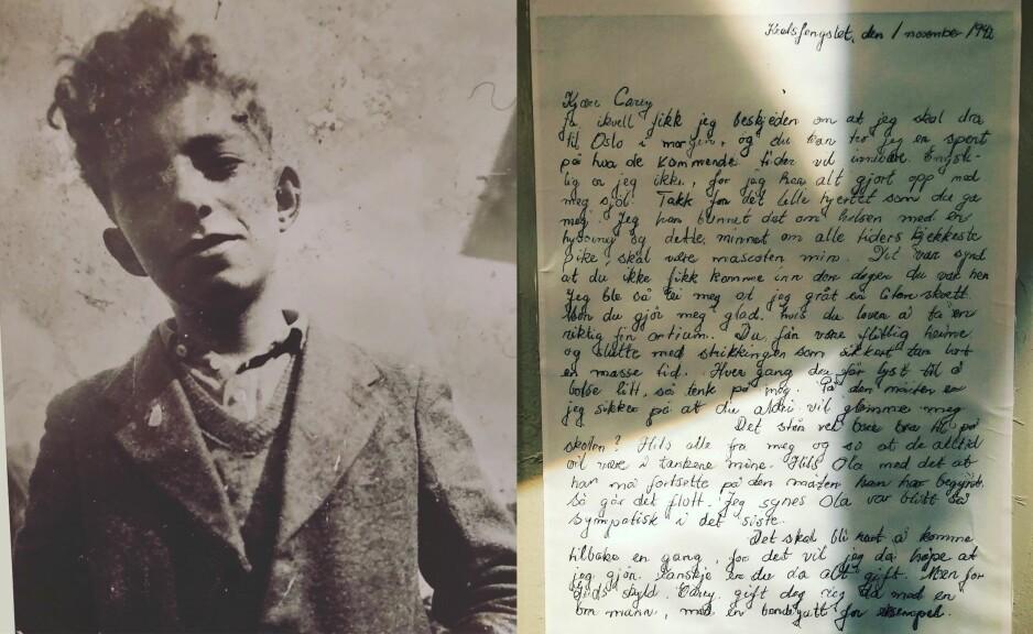 SELIK MAHLER: I 1942 var Selik Mahler 19 år og studerte ved Handelshøyskolen i Trondheim, hvor han var oppvokst. Til høyre er hans håndskrevne brev til klassevenninnen Carey. Kort tid etter brevet ble skrevet, ble Selik drept i utryddelsesleiren Auschwitz. Foto: Jødisk museum Trondheim