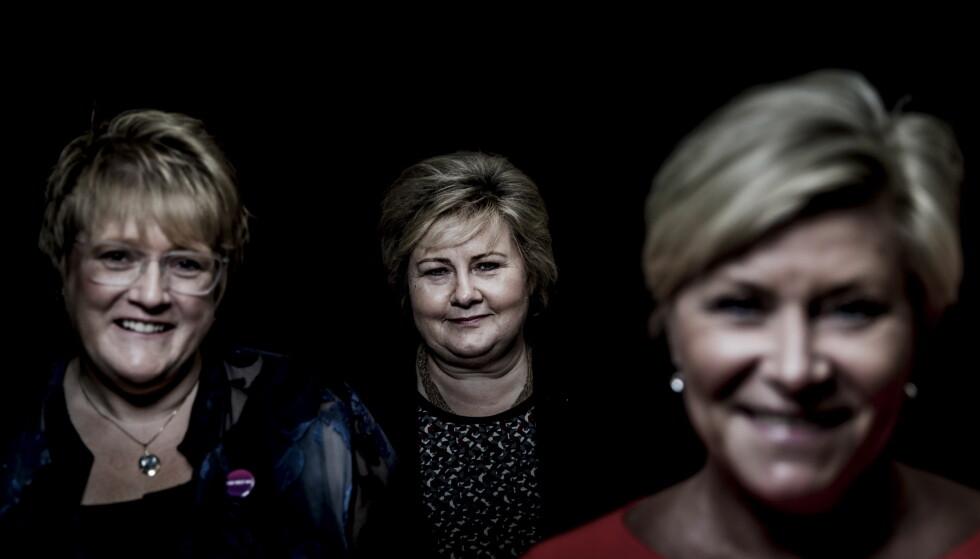 Lyssky: Partilederne Trine Skei Grande, Erna Solberg og Siv Jensen vil holde hemmelig hvem de møter. Foto: Christian Roth Christensen / Dagbladet