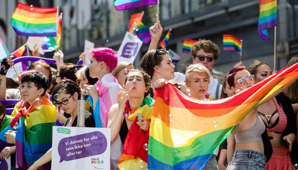 FOR FRIHET TIL ENKELTMENNESKET: Det har skjedd en endring i Frp som det blir feil å kalle rosavasking, skriver artikkelforfatterne. - Det handler rett og slett om at partiets medlemmer og landsmøte har endret mening. Bildet er fra Oslo Pride i 2017. Foto: Audun Braastad / NTB scanpix