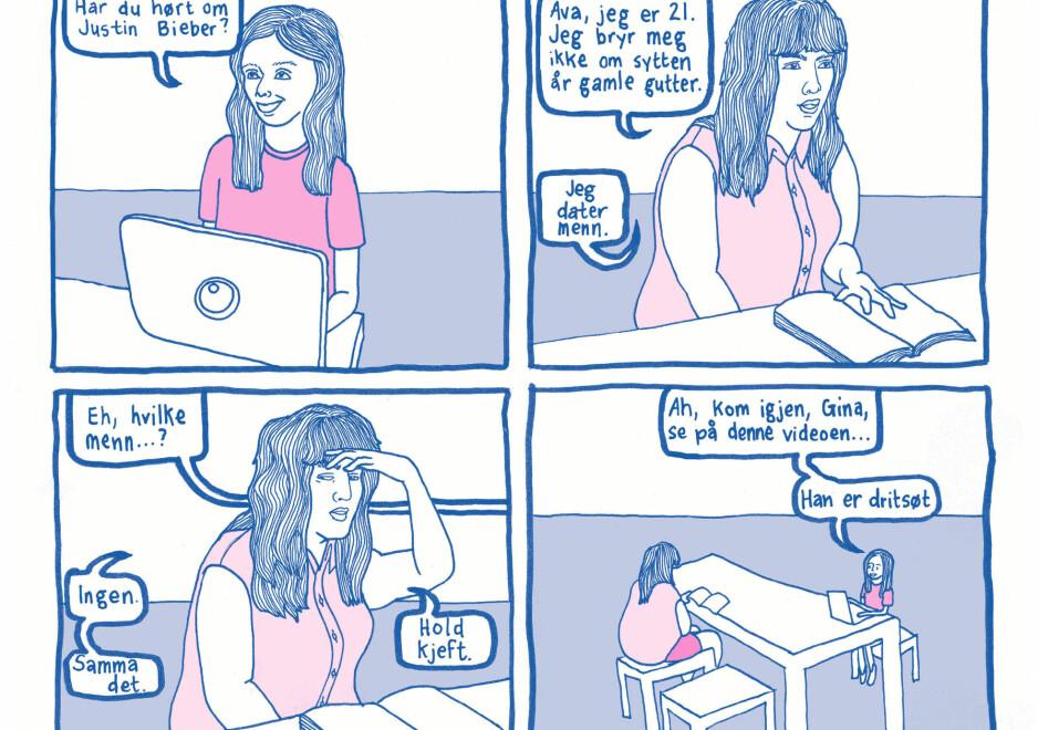 KOMIKK: Wynbrandt klarer å kombinere et feministisk prosjekt med strålende komikk både i tekst og tegning. Faksimile fra boka