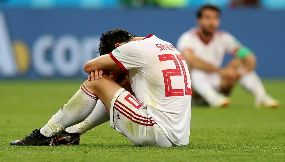 SLAGEN MANN: Sardar Azmoun var utrøstelig da Portugal slo ut Iran fra VM. Nå gir han seg på landslaget, men det av helt andre årsaker. Foto: Action Images / Ricardo Moraes