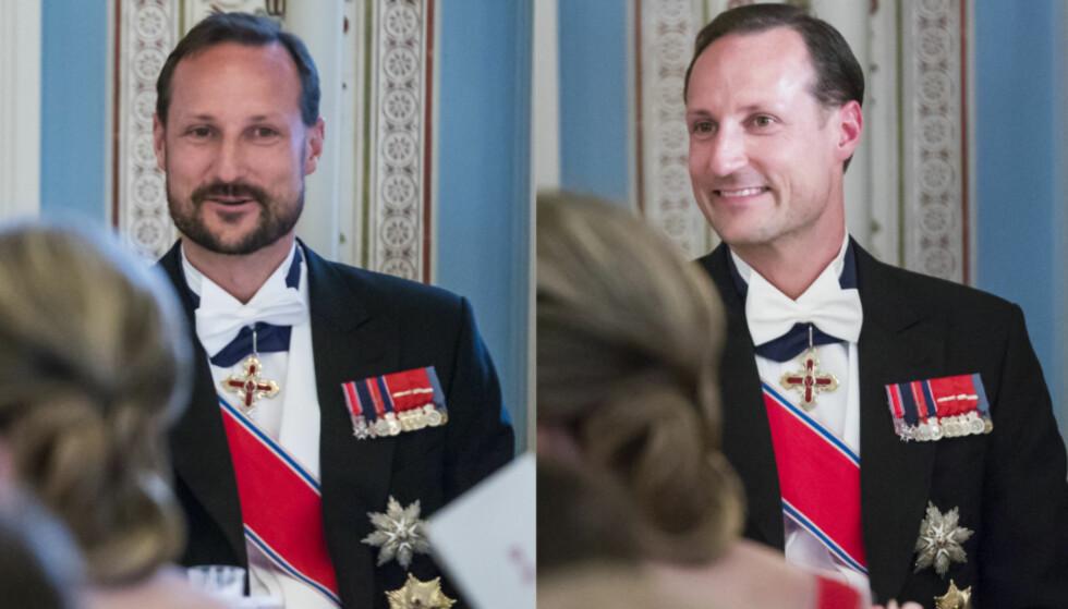 FORANDRING: Kronprins Haakon ankom den storslåtte gallamiddagen med skjegg, men dro hjem uten. Foto: Heiko Junge / NTB scanpix