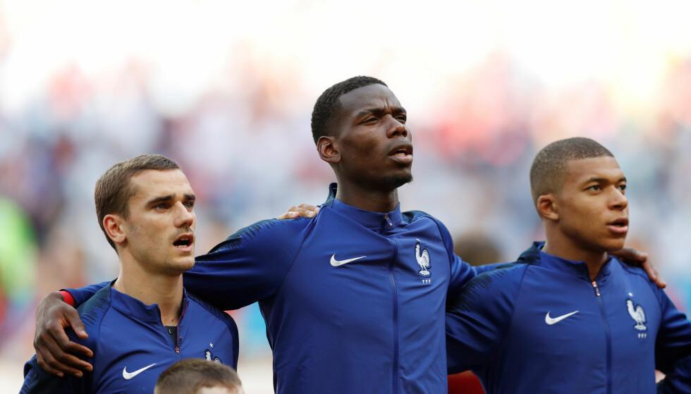 STJERNETRIO: Antoine Griezmann, Paul Pogba og Kylian Mbappé. Foto: REUTERS/John Sibley