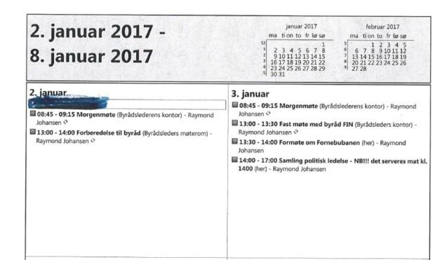 FULLT INNSYN: Alle byrådene i Oslo har tidligere innvilget innsyn i sine Outlook-kalendre. Klikk på bildet for å se et større utdrag av byrådsleder Raymond Johansens kalender.