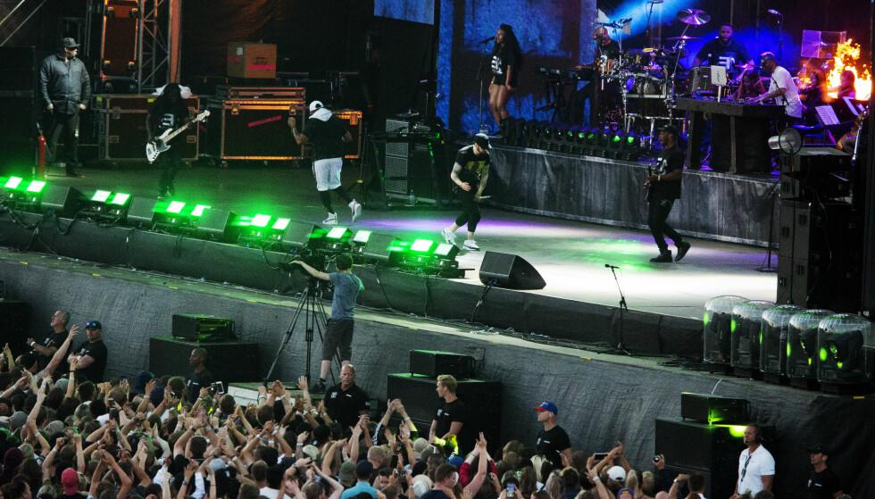 FOLKEHAV: 55 000 publikummere møtte opp for å høre på Eminem forrige helg. Foto: Dagbladet