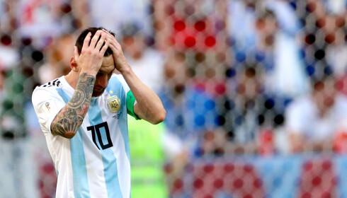 OG ATTER BOM: Lionel Messi er like fortvilet etter sin straffemiss mot Island. Foto: NTB scanpix