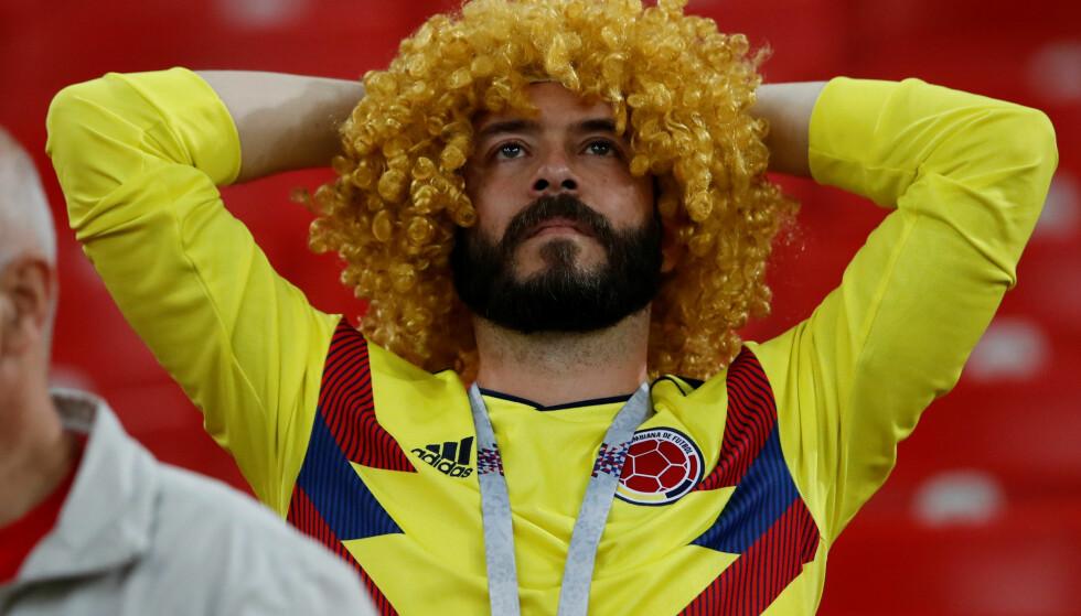 FORTVILET: En colombisk supporter under straffesparkkonkurransen mot England. Foto: REUTERS/Carl Recine/NTB Scanpix
