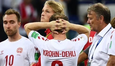 NEDSLÅTTE DANSKER: Michael Krohn-Dehli og Danmark' røk ut på straffer mot Kroatia. Foto: AFP PHOTO / Jewel SAMAD / NTB scanpix
