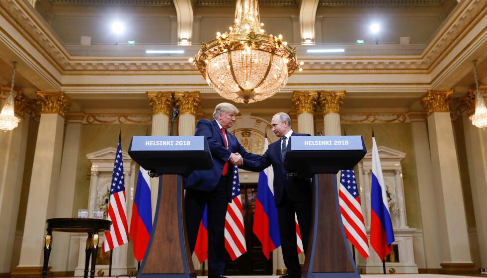 HELSINKI: Mandag møttes president Donald Trump og president Vladimir Putin. I etterkant av møtet holdt de to en pressekonferanse. Foto: Kevin Lamarque / Reuters / NTB Scanpix