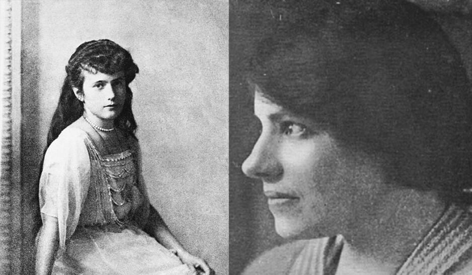 OVERLEVDE?: Kvinnen som kalte seg Anna Anderson (t.h) mente bastant at hun var Anastasia Romanov (t.v) som hadde overlevd henrettelsen i 1918. Foto: AP / NTB Scanpix / Wikimedia Commons