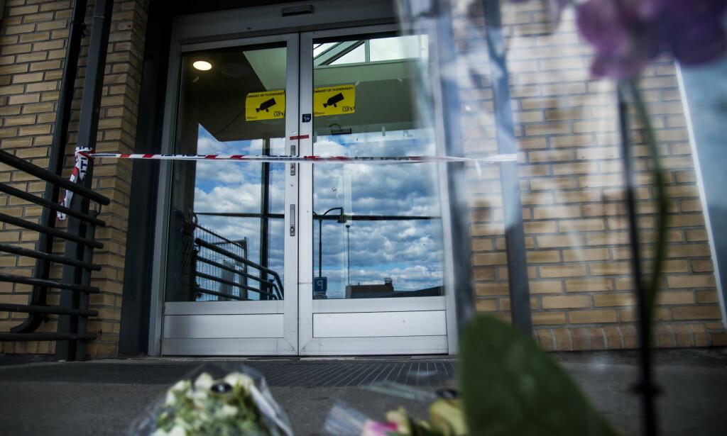STENGT: Coop Extra-butikken hvor Håvard Pedersen ble drept mens han var på jobb i Byggmix-avdelingen, har siden lørdag kveld vært stengt. Onsdag åpner butikken igjen. Foto: Andreas Lekang / Dagbladet