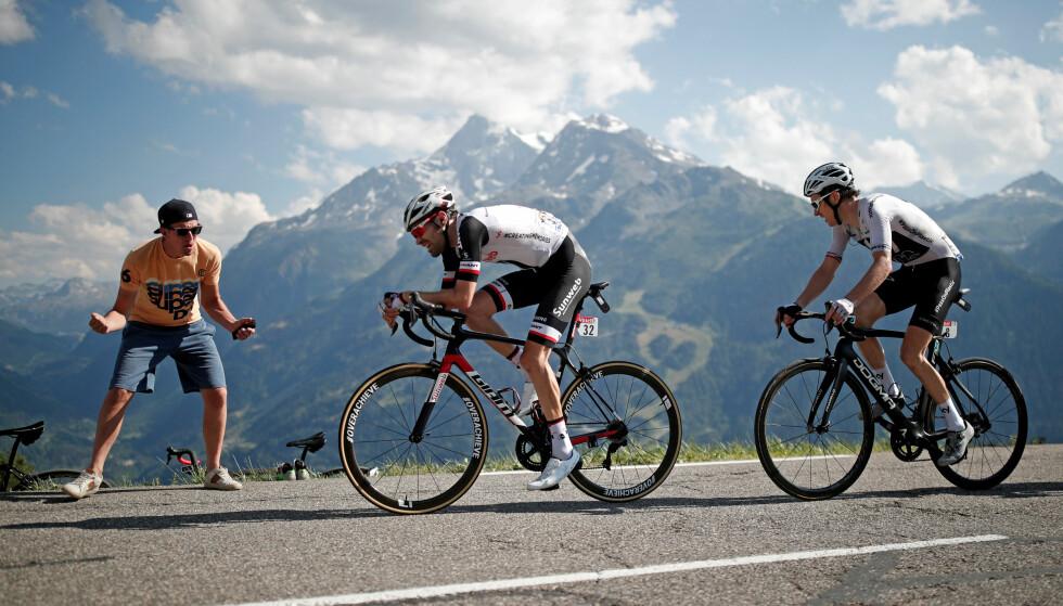 ANGREP: Tom Dumoulin var nærmest Geraint Thomas på den ellevte Tour de France-etappen. Foto: REUTERS/Benoit Tessier