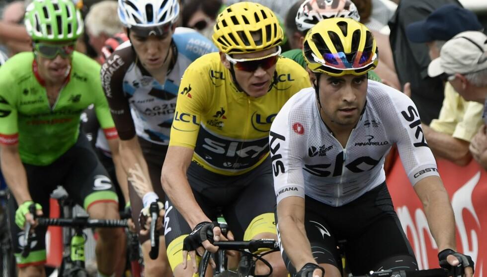 JOBBET FOR FROOME: Mikel Landa var Froome sin viktigste hjelper i fjellene i Tour de France 2017. Foto: AFP PHOTO / POOL / PHILIPPE LOPEZ