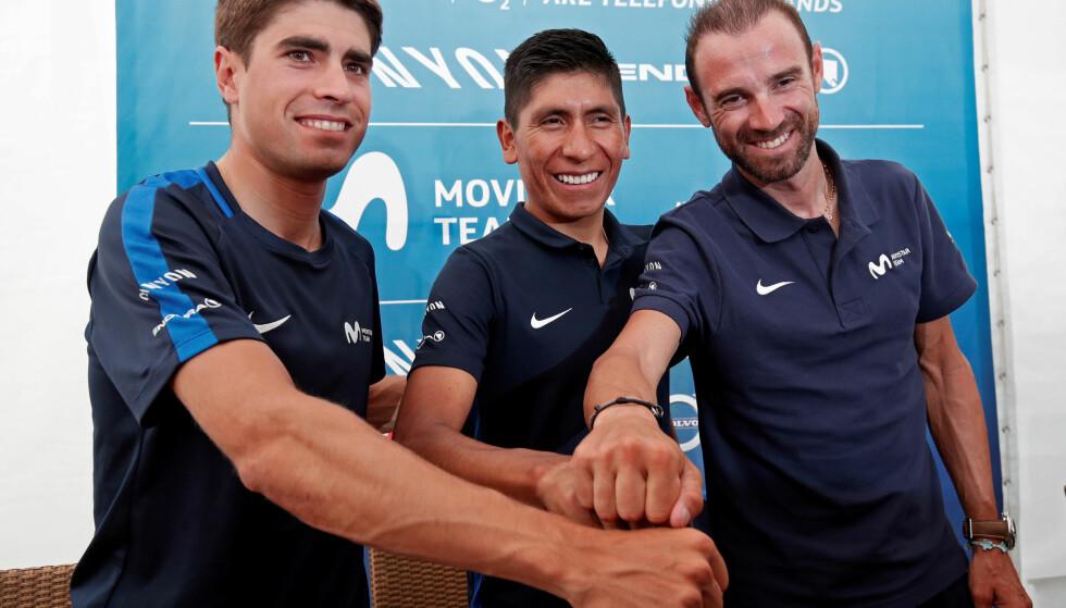 TREENIGHET: Mikel Landa, Nairo Quintana og Alejandro Valverde er de tre sammenlagtstjernene til spanske Movistar Team. Foto: REUTERS/Benoit Tessier