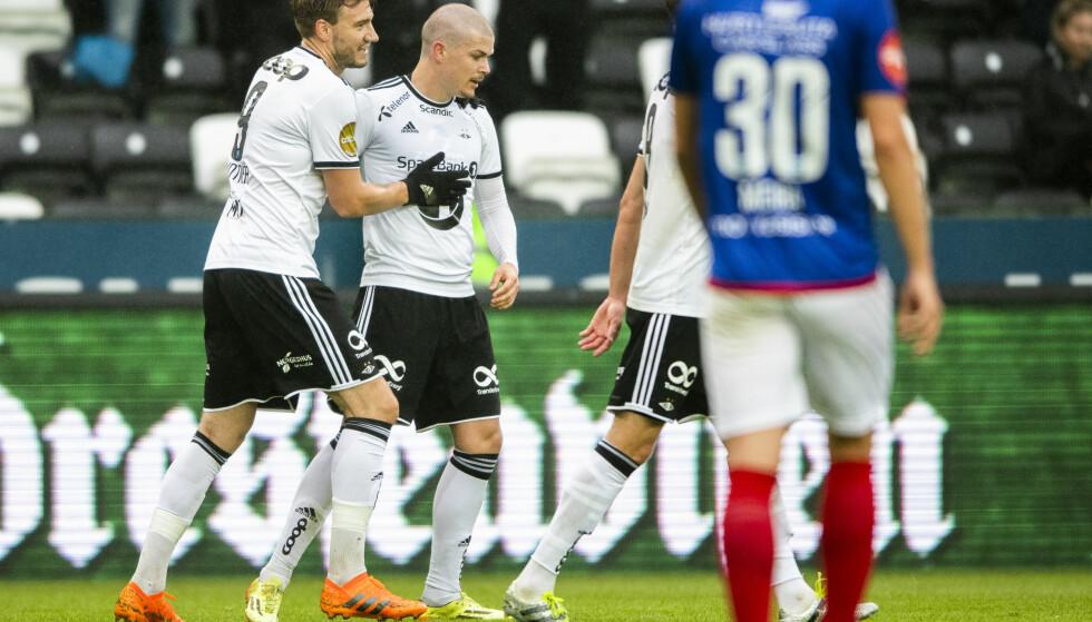 UT?: Rosenborgs Pål André Helland og Nicklas Bendtner er kanskje Eliteseriens største navn. Men hvor ligger framtida til stjernene? Foto: Ole Martin Wold / NTB scanpix