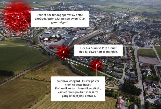 NABOLAG: Sunniva Ødegård bodde ved den røde markeringen til høyre. Hun ble funnet død ved markeringen i midten. Tirsdag har politiet sperret av området til venstre i bildet. Foto: Frank Karlsen Grafikk: Marius Grøndahl / Dagbladet