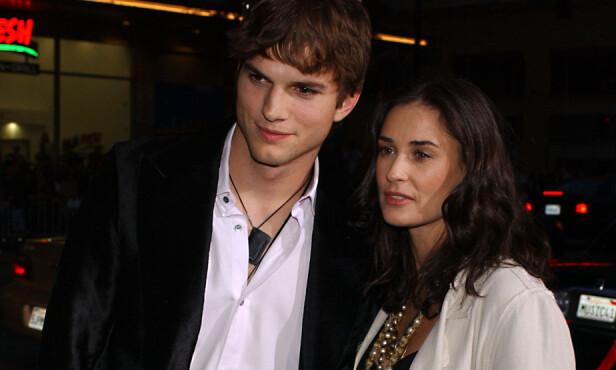 VAR GIFT: Demi Moore var 42 år gammel da hun giftet seg med Ashton Kutcher, som da var 27. Foto: NTB Scanpix