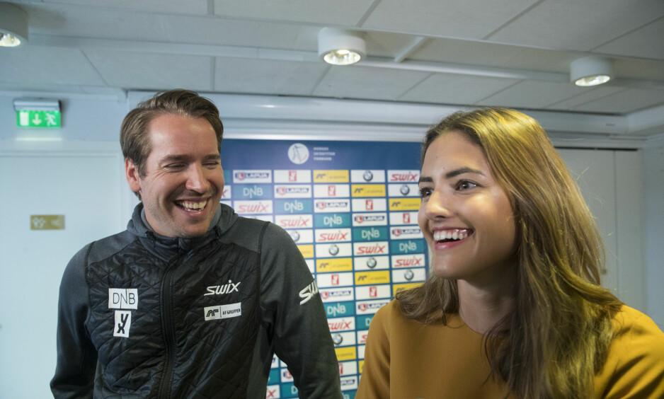 GRAVID: Skiskytteren Emil Hegle Svendsen og forloveden Samantha Skogrand venter barn. Foto: Vidar Ruud / NTB scanpix