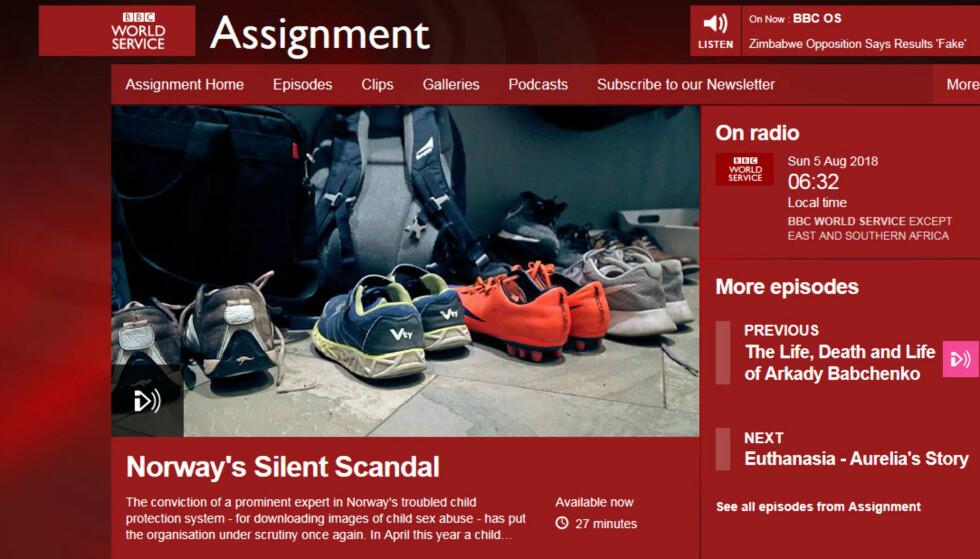 TV, RADIO OG PODCAST VERDEN RUNDT: Slik promoterer BBC World Service det nye programmet om norsk barnevern. Radio- og podcast-versjonen ligger allerede ute. TV-programmet sendes første gang tidlig lørdag. Faksimile: bbc.co.uk.