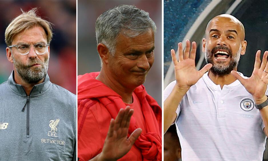 KAN DE MINSKE FORSPRANGET TIL CITY? Jürgen Klopp (t.v.) og José Mourinho vil nok ikke være like fornøyde med overgangsvinduet. Pep Guardiola (t.h.) har på sin side ikke mistet noen sentrale spillere. Foto: NTB Scanpix