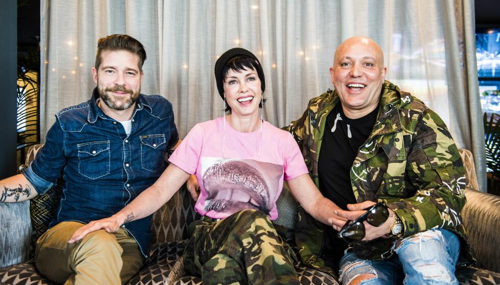 MANGE TALENTER: Lene Nystrøm er vokalist i popgruppa Aqua, som hun har sammen med eksmannen Søren Rasted (til venstre) og René Dif. Hun har også en karriere som skuespiller, og er i disse dager aktuell i den danske TV-serien «Klovn». Foto: Lars Eivind Bones / Dagbladet