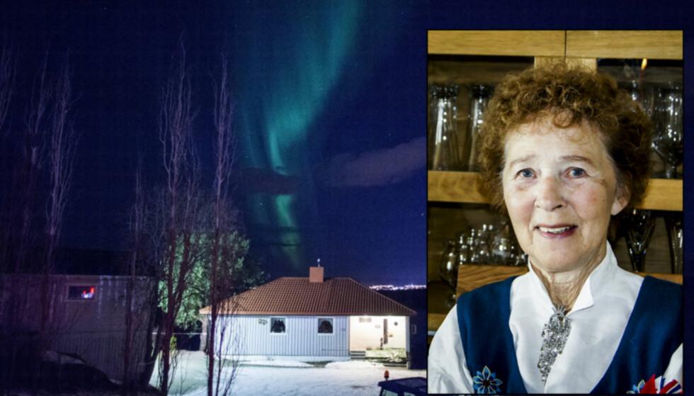 ALTERNATIV, MEN JORDNÆR: Gudrun Thomassen (84) beskrives som jordnær, selv om hun var en kjent personlighet i det alternative miljøet i Norge. Hun ble funnet drept hjemme på Øyjord i Lenvik i november i fjor. Foto: Hans Arne Vedlog og privat